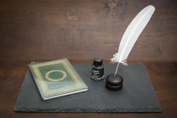 Grimoire Set mit grünem Schattenbuch, weißer Schreibfeder, Tinte und Federhalter