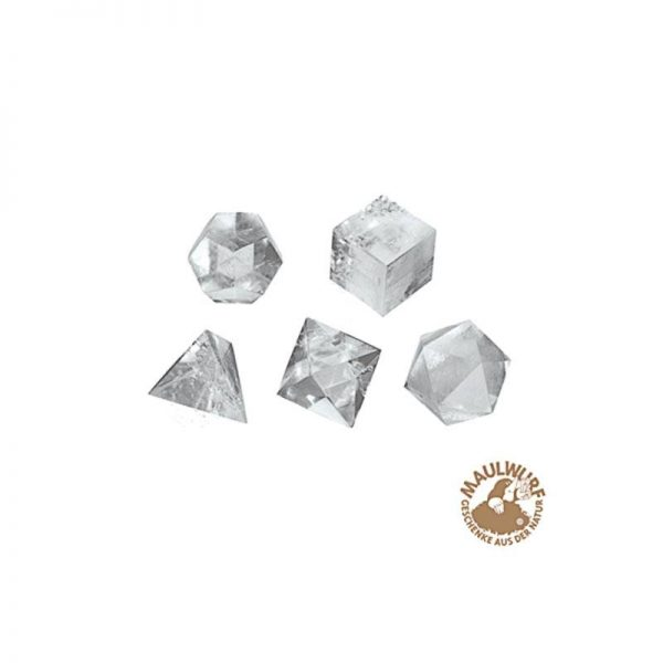 Set große Platonische Körper aus Bergkristall
