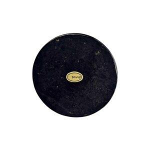 Schungit-Scheibe in Geschenkbox, ca. 9 cm