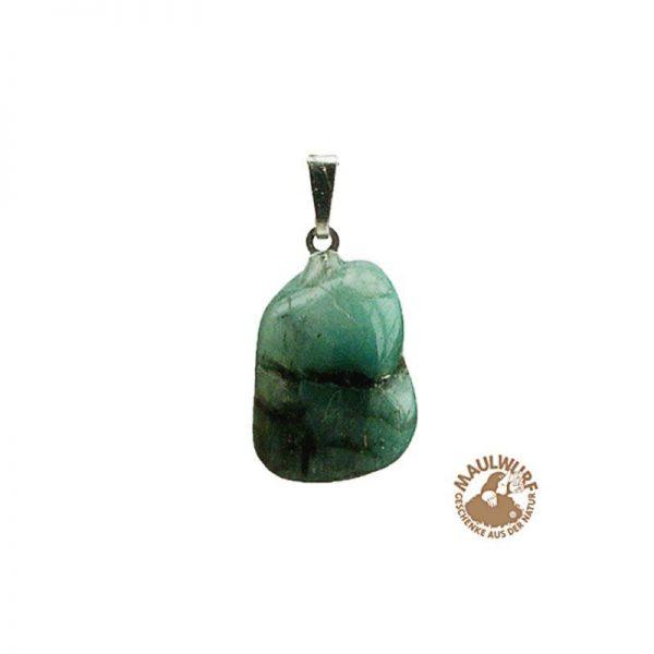 Anhänger Smaragd-Trommelstein mit 925er Silberöse