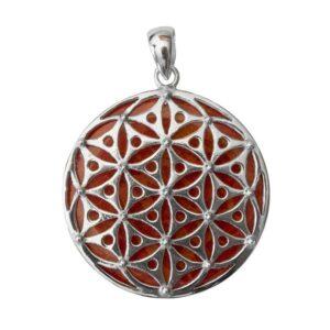 Anhänger Rote Koralle mit Blume des Lebens aus 925er Sterling-Silber