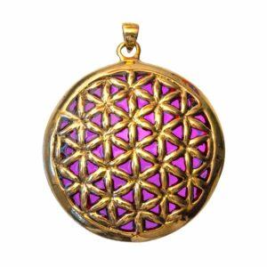 Bronze-Anhänger Blume des Lebens - violett emailliert - 4,5 cm