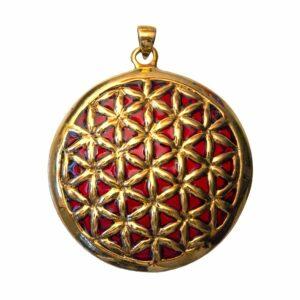 Bronze-Anhänger Blume des Lebens - rot emailliert - 4,5 cm