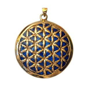 Bronze-Anhänger Blume des Lebens - blau emailliert - 4,5 cm