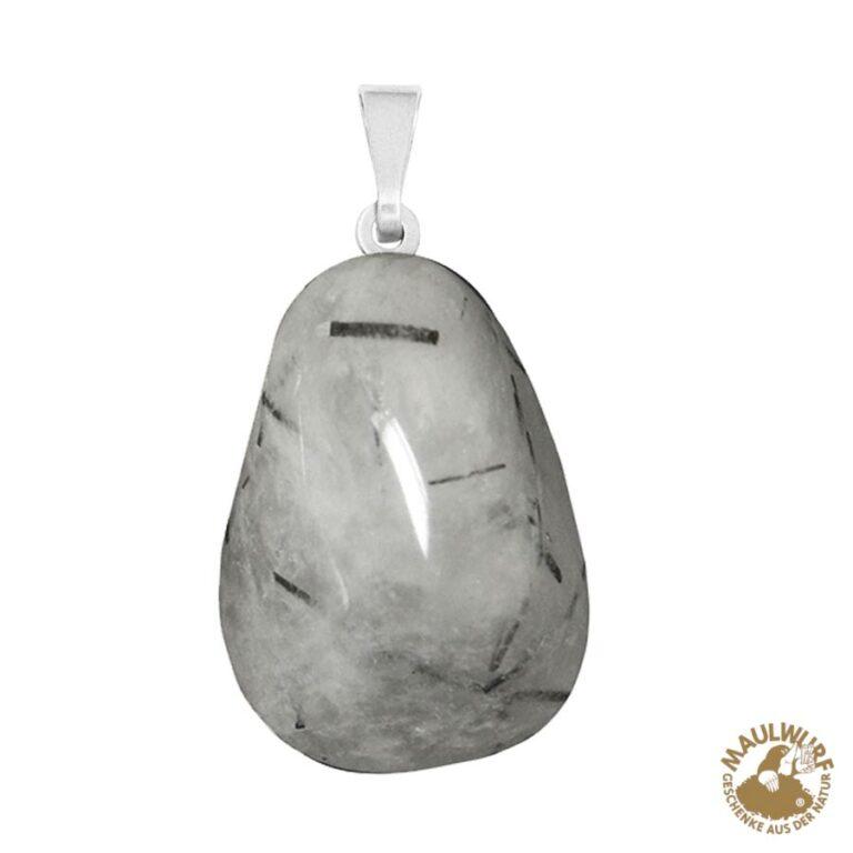 Anhänger Turmalinquarz-Trommelstein mit 925er Silberöse