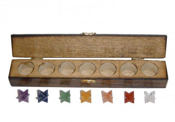 MerkabaChakra-Steine Set mit 7 Edelsteinen in Holzbox