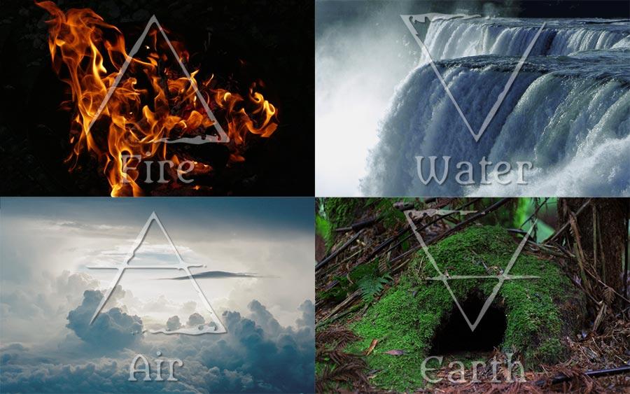 Die vier Elemente und ihre Symbole