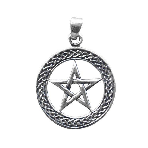 Anhänger Pentagramm mit keltischem Knoten aus 925er Sterling-Silber