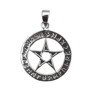 Anhänger Pentagramm mit Runen aus 925er Sterling-Silber