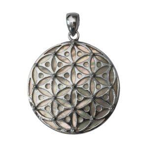 Anhänger aus 925er Sterling-Silber Blume des Lebens auf Perlmutt