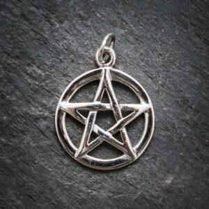 Anhänger Pentagramm in Kreis aus 925er Sterling-Silber