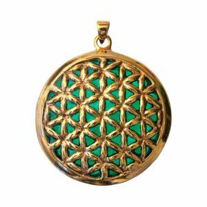 Bronze-Anhänger Blume des Lebens - grün emailliert - 4,5 cm