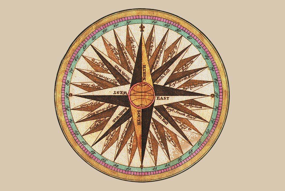 Illustration einer antiken Windrose auf Pergament