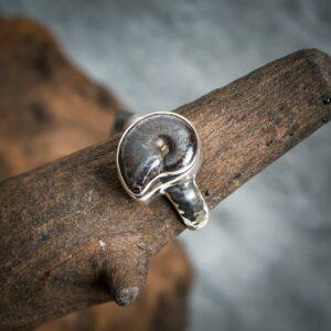 Silberring aus 925er Sterling-Silber mit Ammonit