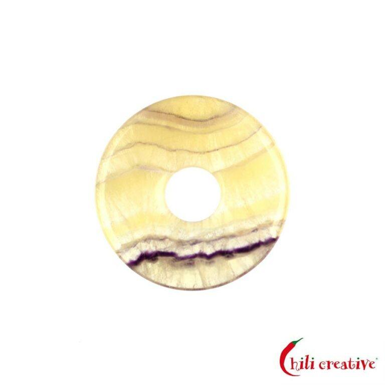 Kleiner Fluorit Donut gelb gestreift, 30 mm Durchmesser