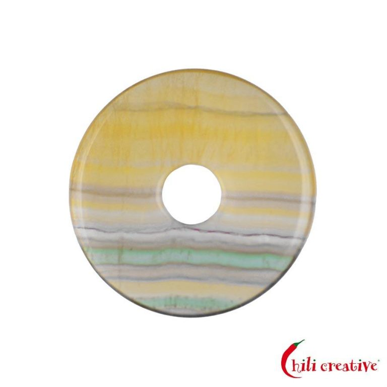 Mittelgroßer Fluorit Donut gelb gestreift, 40 mm Durchmesser