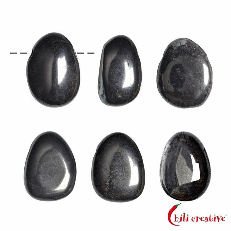Tropfenförmiger Hämatit Trommelstein gebohrt - klein