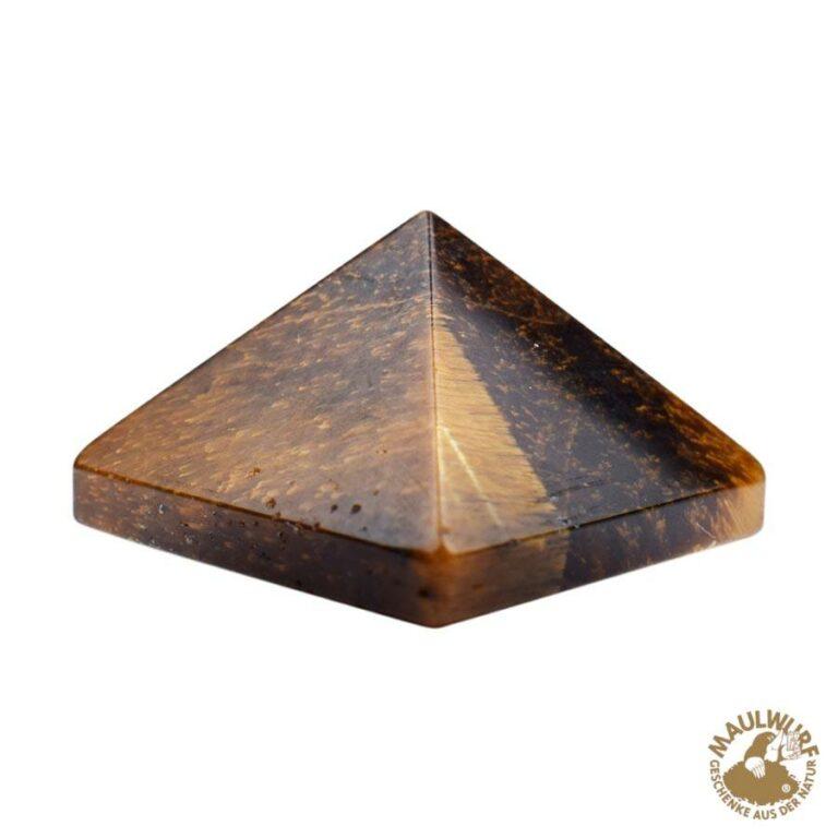 Kleine Tigerauge-Pyramide in Geschenkbox