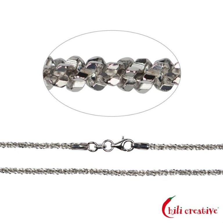Funkelkette aus 925er Silber rhodiniert