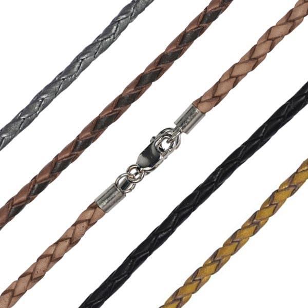 Leder-Colliers in verschiedenen Farben mit Verschluss aus 925er Silber