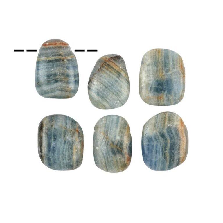Freeform Aragonit blau (Ozeanit) Trommelstein gebohrt - klein