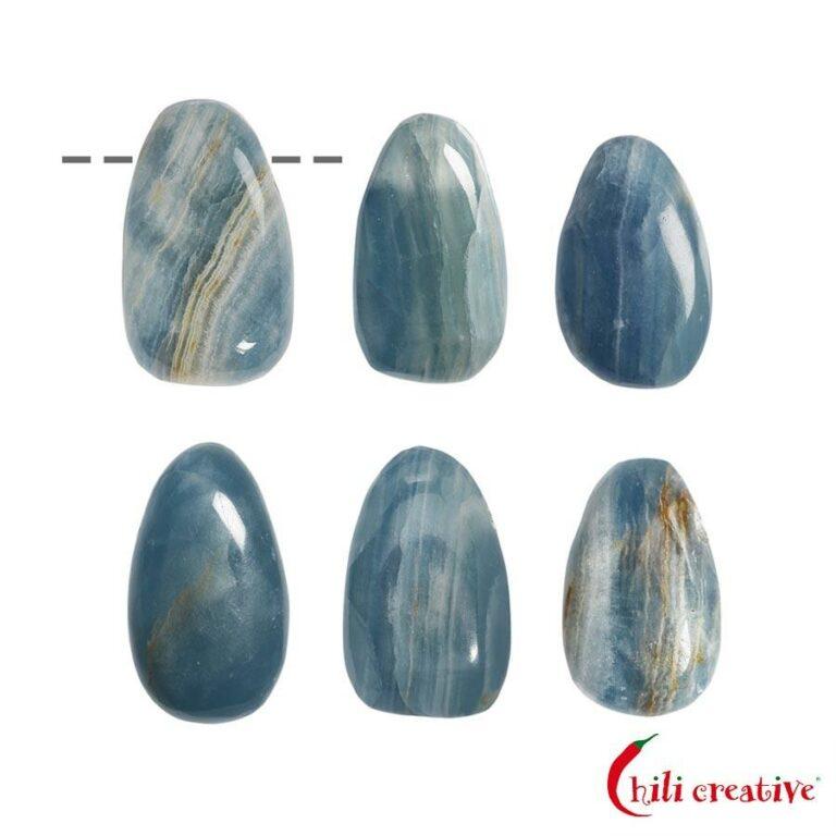 Freeform Aragonit blau (Ozeanit) Trommelstein gebohrt - mittel