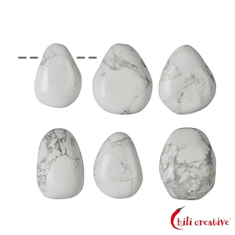 Tropfenförmiger Magnesit Trommelstein gebohrt - klein