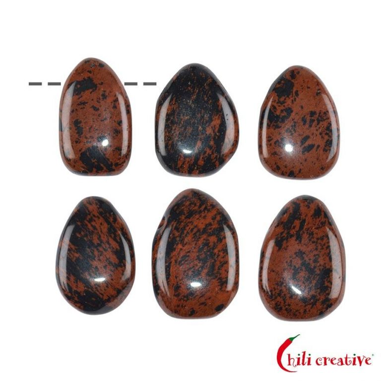 Tropfenförmiger Mahagony-Obsidian Trommelstein gebohrt - mittel