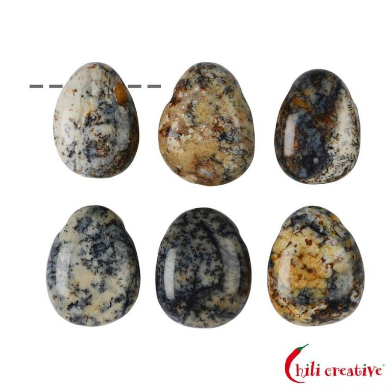 Tropfenförmiger Opalith Trommelstein gebohrt - klein