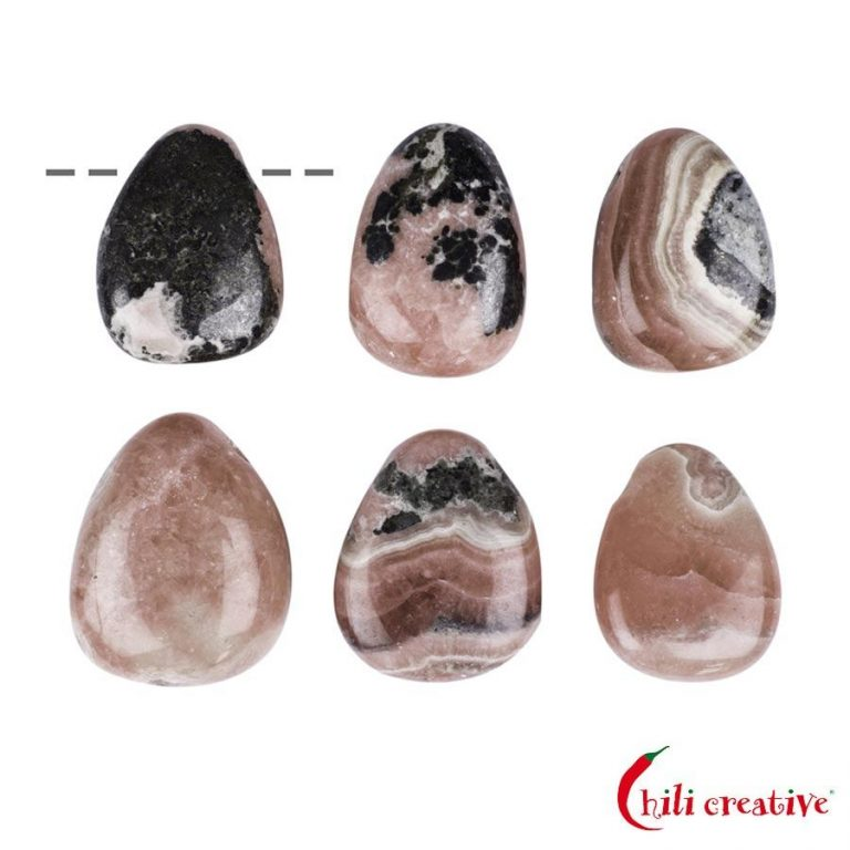 Tropfenförmiger Rhodochrosit Trommelstein gebohrt - klein