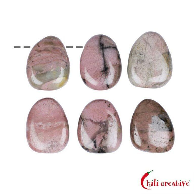 Tropfenförmiger Rhodonit Trommelstein gebohrt - klein