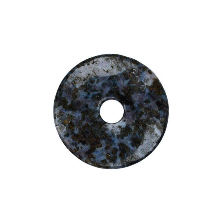 Mittelgroßer Gabbro (Mystic Merlinite) Donut, 40 mm Durchmesser