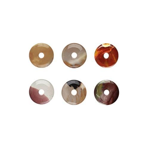 Beispiele für die verschiedenen Farben und Maserungen von Donuts aus Mookait