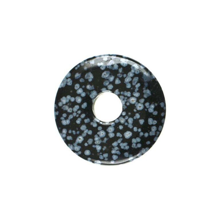 Kleiner Obsidian (Schneeflockenobsidian) Donut, 30 mm Durchmesser