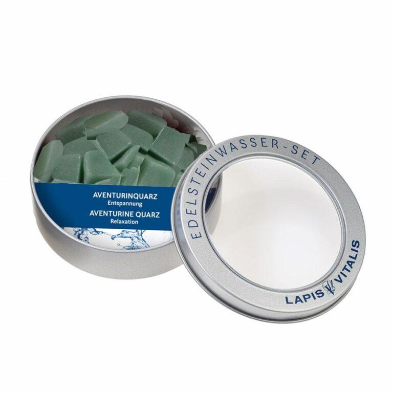 Wassersteine Aventurin (grün)in Metall-Geschenkdose
