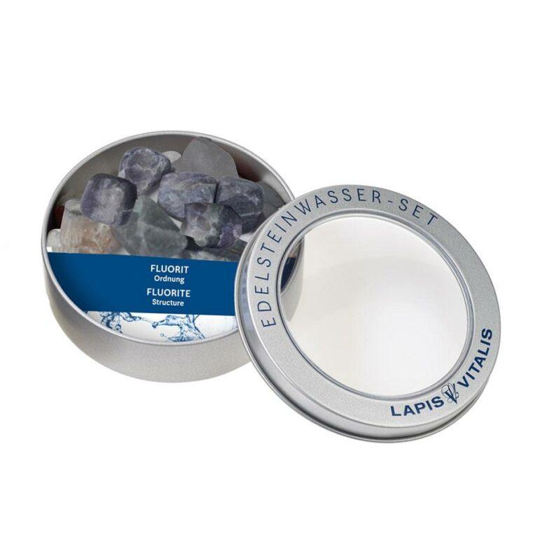 Wassersteine Fluorit in Metall-Geschenkdose