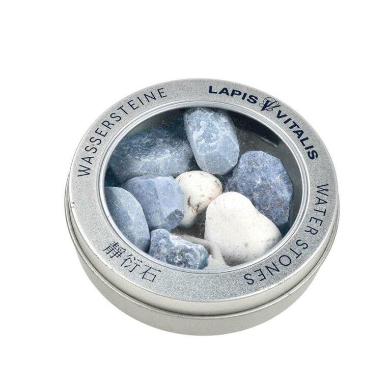 "Wassersteine ""Gelassenheit-Mischung"" (Dumortierit, Blauquarz, Magnesit) in Metall-Geschenkdose"
