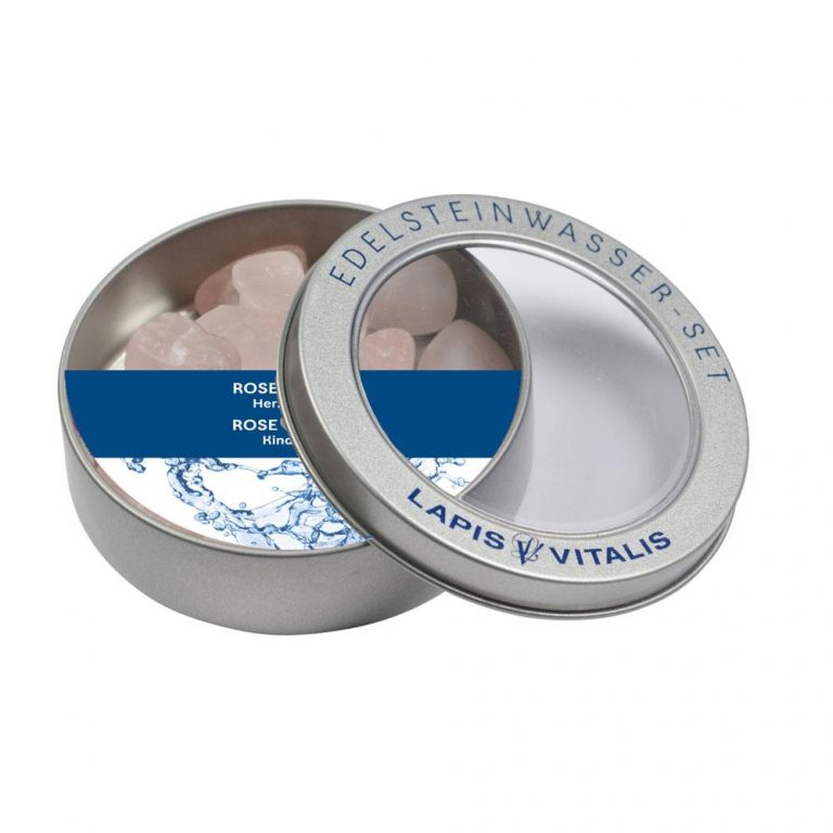 Wassersteine Rosenquarz in Metall-Geschenkdose